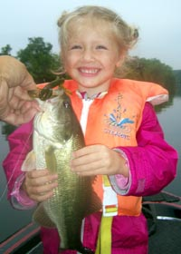 Iza's first bedding bass - 2lbs - that's my girl!