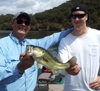 Father and son having fun on Lake Austin