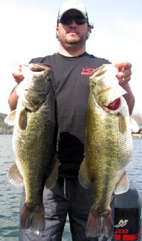 Kyle with triplet 9 lb Lake Austin bass. Sweet!