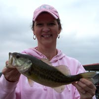 Drew's mom Betty with a Lake Travis largemouth